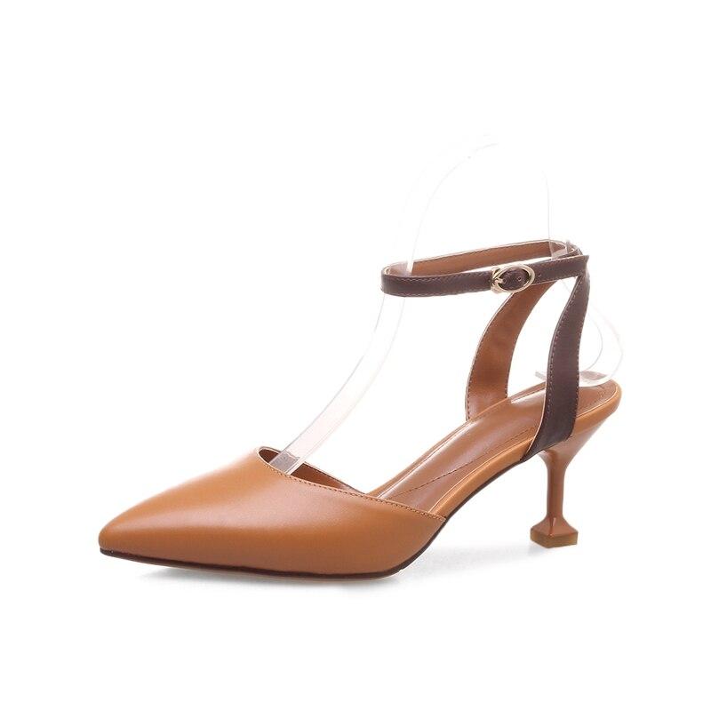 Taille Mélangées D'été Anmairon Date En Bout Véritable Grande Sangle Beige Chaussures 41 Cr218 Couleurs Pointu 34 brown Femmes Cuir Boucle 6Yyf7vbg