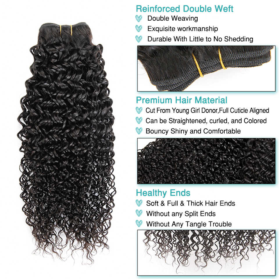 Ali Grace Hair Peruvian Kinky Curly With Closure 3 Bundles With 13*4 Free Part Middle Part Ear to Ear Lace Frontal Remy Hair