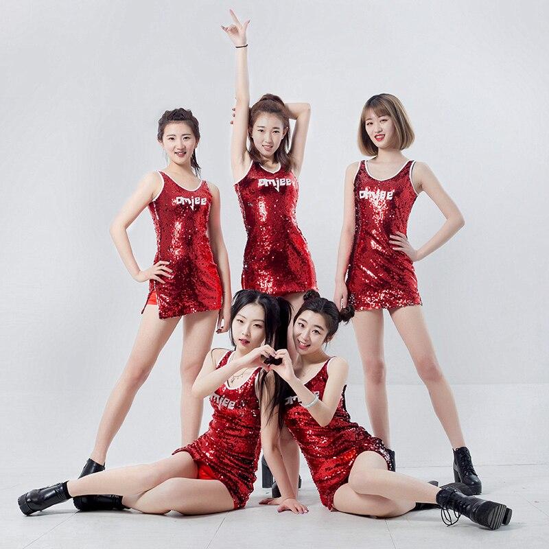 Costumes de danse Jazz rouge paillettes gilet robe pom-pom girl tenue femmes discothèque Dj Ds vêtements adultes Hip Hop Dancewear DNV11353