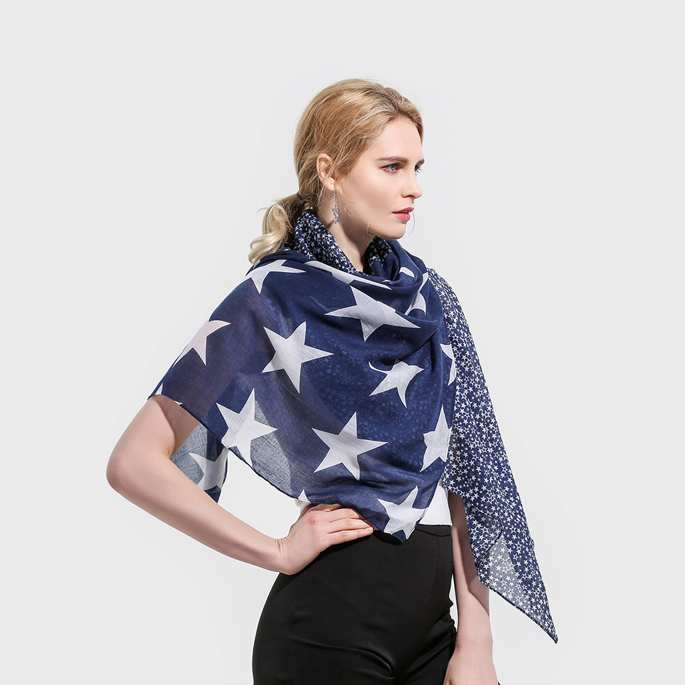 f8df3e59a20 Winfox 2018 New Fashion Lightweight Soft Navy Color Star Print Belong Scarf  Pashmina Foulard Echarpe Femme Scarves -in Women s Scarves from Apparel ...