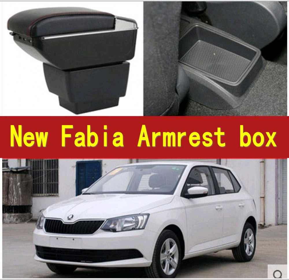 For New Fabia armrest box central Store content Storage skoda Fabia 3 mk3 armrest box with cup holder ashtray USB  2015-2017