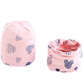 Cartoon Printed Baby's Cotton Hat and Scraf Set 6