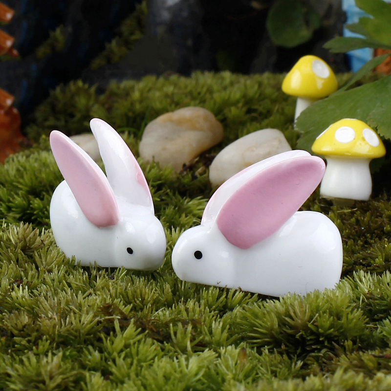 2Pcs/Set Happy Easter Eggs Decor Rabbit Cute Bunny Ornament Mini Resin Garden Easter Decorations for Home wielkanoc Dropship