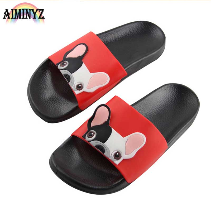 Playa Animal Bulldog zapatillas mujer verano Zapatos hombres Cool Flip Flops sandalias de dibujos animados fuera de diapositivas baño piso femenino