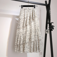 YICIYA 2019 floral chiffon skirt girl plus size large ruffles women black whiter dot midi skirts summer Multi layered irregular