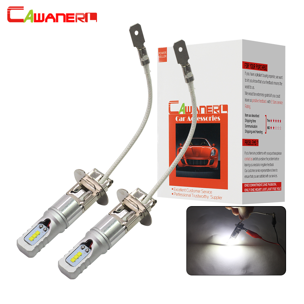 Cawanerl 2 Pieces H3 LED Lamp 80W 3200LM /Set Car Fog Light Bulb DRL Daytime Running Lamp Styling CSP 6000K White 12V High Power цены