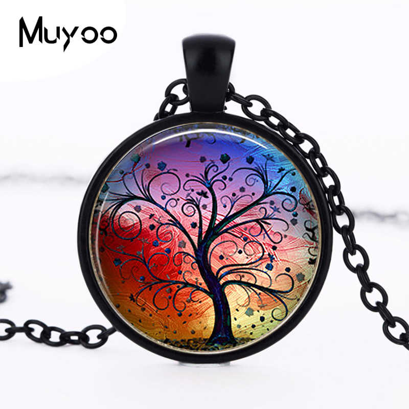 Rainbow Tree of Life Pendant, Colorful Tree Pendant, Tree of Life Jewelry Tree of Life Necklace Christmas Gift Necklace HZ1