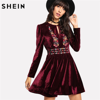 SHEIN Velvet Dress Maroon Long Sleeve High Waist Casual A Line Dress Buttoned Keyhole Front Embroidered