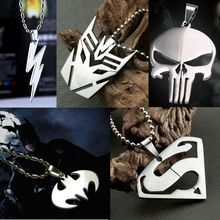 Fashion Super Hero Steel Necklace Cosplay Anime Logo Chain Pendant Silver