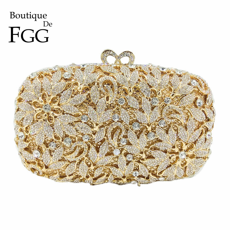 Boutique De FGG Elegant Flower Women Diamond Evening Bags And Clutches Ladies Wedding Party Dinner Crystal Purses And Handbags