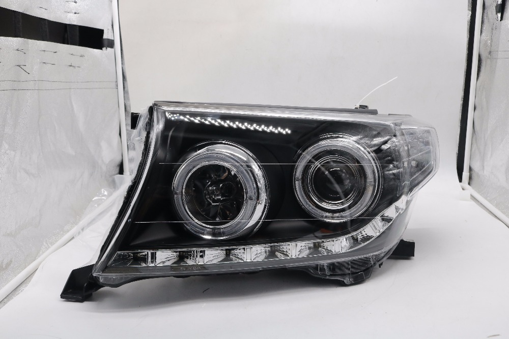 Newest 2008-2015 headlight assembly with xenon projector lens, hid bulb and led drl for Toyota Land Cruiser