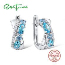 SANTUZZA כסף עגילים לנשים 925 כסף סטרלינג עגילי כסף 925 עם אבנים מעוקב Zirconia brincos תכשיטים