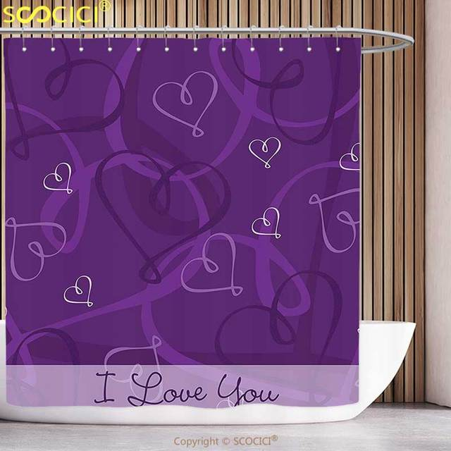 Funky Shower Curtain Indigo Lavender Colored Romantic Themed Image With Hand Drawn Hearts Eggplant Purple