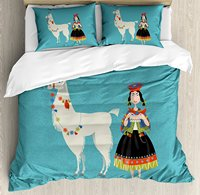 Llama Duvet Cover Set Peruvian Woman Knitting with a White Alpaca Wrapped with Flower Illustration, 4 Piece Bedding Set