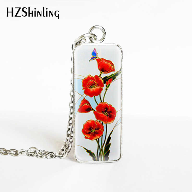 2019 New Red Pink Flowers Paintings Rectangle Pendants Hand Craft Red Attractive Flowers Jewelry Pendant Necklace
