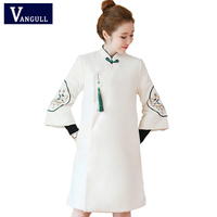 Chinese style improved cheongsam retro Hanfu Women's clothing Female winter woolen coat Embroidery Thick Solid Long Jackets