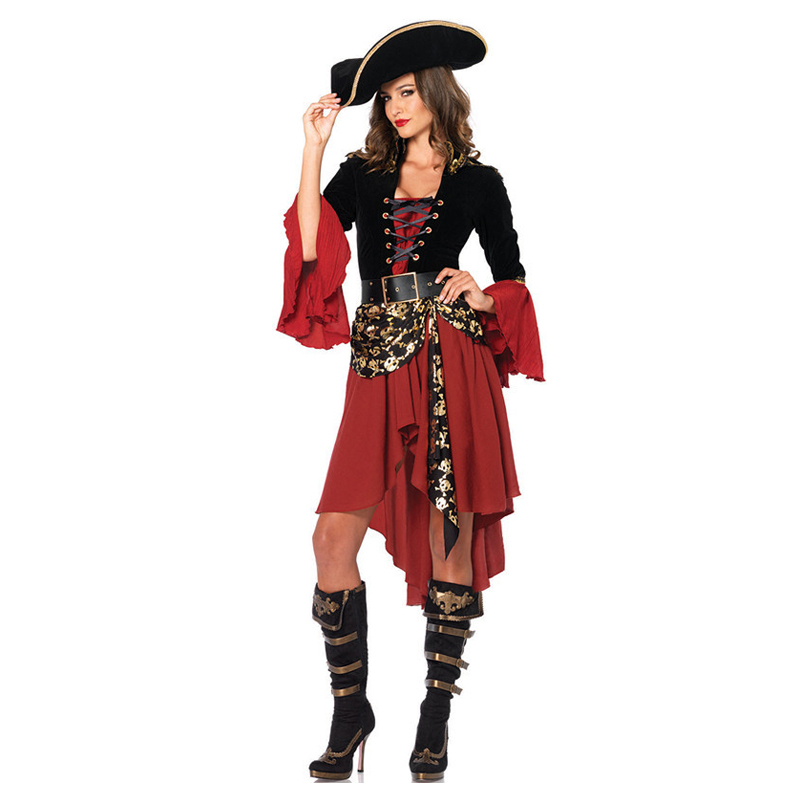 Pirates of the Caribbean Halloween Costume for Women Pirate Captain Adult Cosplay domineering Female pirate Jack Sparrow Costume pirate jack looks for treasure