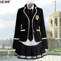 Marcas Material Lehno Junior/Senior high school Studernts Ropa Coro de Uniformes Escolares Niñas Chándales Los Trajes Del Deporte Shirt + coat + falda