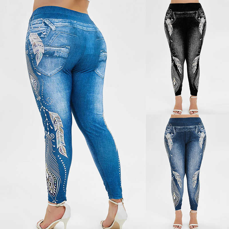 Vertvie Plus Size S-3XL Women High Waist Yoga Pants Jeans 3D Printed Fitness Leggings Slimming Gym Sports Tights Running Wear