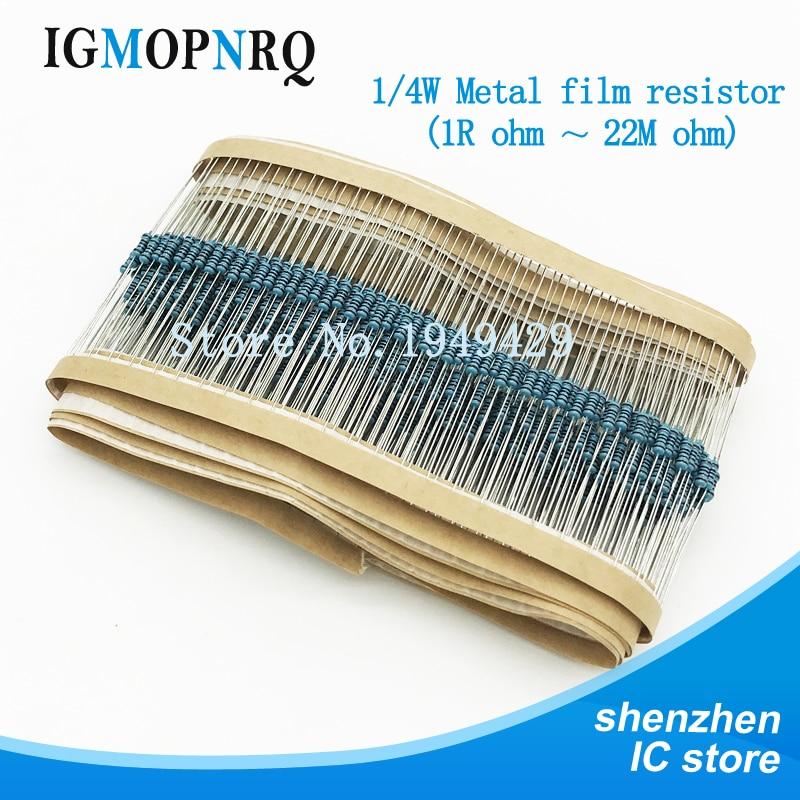200pcs 1/4W 1R~22M 1% Metal Film Resistor 100R 220R 1K 1.5K 2.2K  4.7K 10K 22K 47K 100K 100 220 1K5 2K2 4K7 Ohm 1M2 Resistance