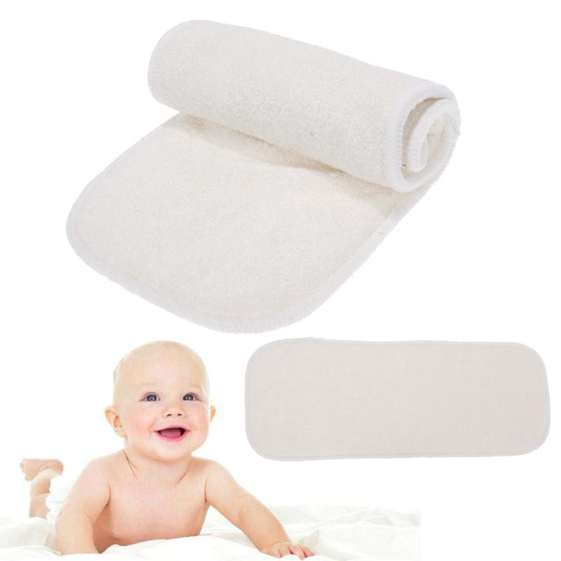 Reusable Baby Cloth Diapers 4-Layer Bamboo Fiber Insert Liners Soft Infant Baby Cloth Washable Nappy Diaper High Quality
