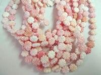 8-12mm completa strand shell concha Natural, pink Shell MOP Flor Esculpida Contas Mãe Branca de Pérola Esculpida Flor Contas