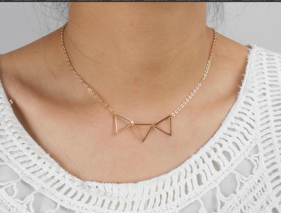Hollow Geometric Triangle Necklace For Women Sexy Garment accessories