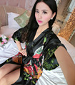 2016 New Brand Female Printed Floral Kimono Dress Gown Chinese Style Silk Satin Robe Nightgown Flower Robes