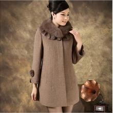 Зимнее женское кашемировое шерстяное пальто средней длины с меховым воротником размера плюс 5XL