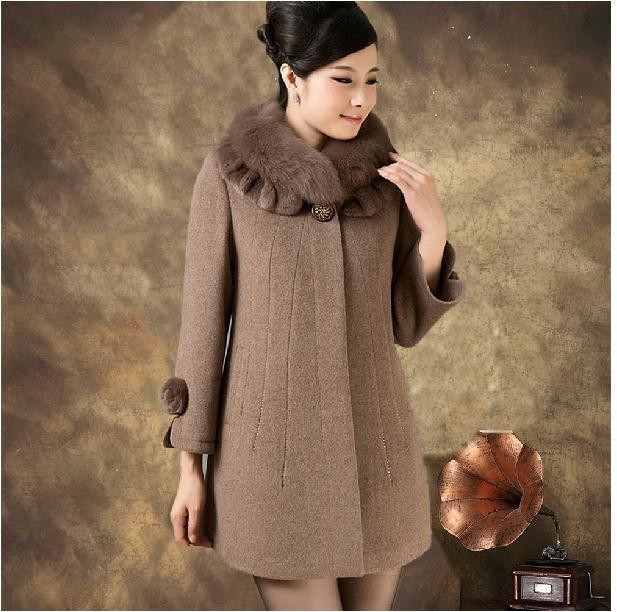 Бесплатная доставка зима Мать женщины меховой воротник кашемир средней длины шерстяное пальто большие размеры 5XL