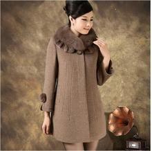 Free shipping winter mother women fur collar cashmere medium-long woolen coat plus size 5XL