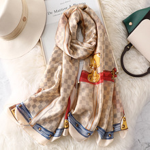 Luxury Brand Scarf Small Plaid Summer Fashion Silk Scarf Women Long Scarves Shawls Belt Printing Scarfs for Ladies Hijab 2019