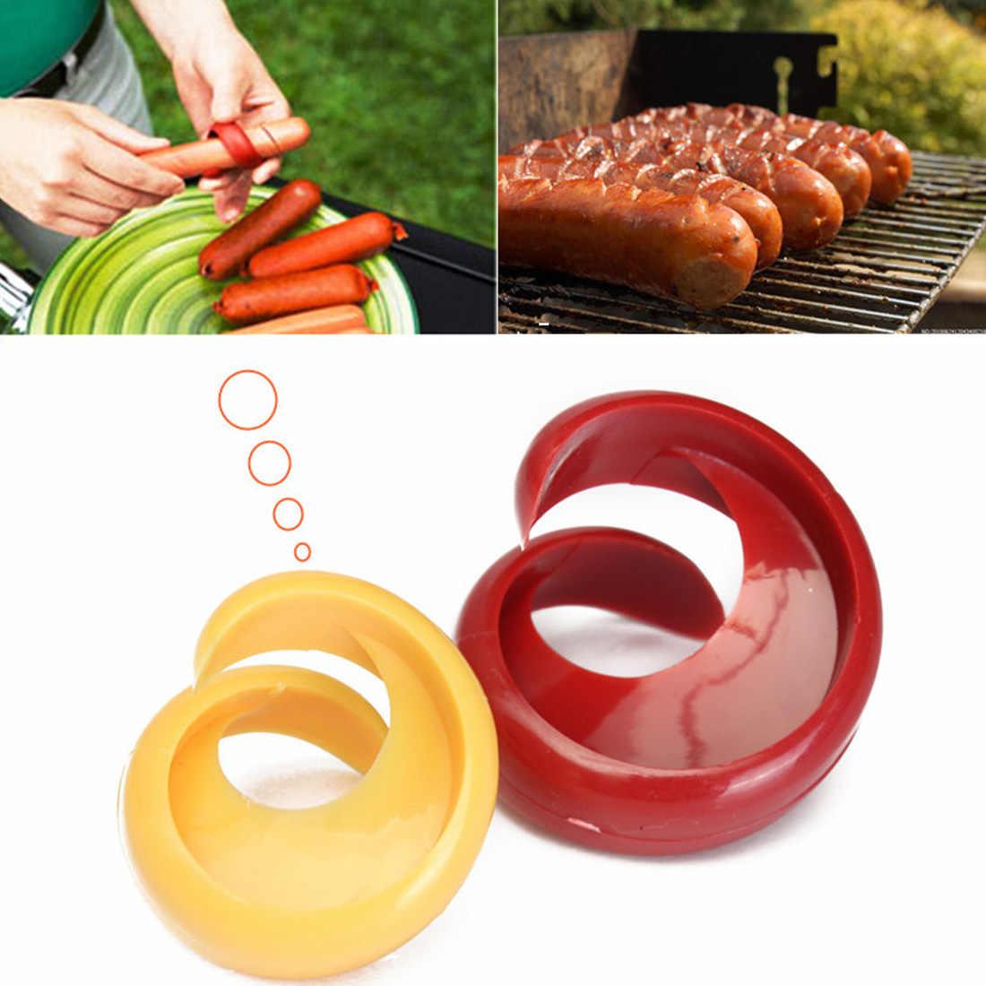 2 Cái/bộ Của Nhãn Hiệu Fancy Xúc Xích Hot Dog Cutter Slicer Cắt Phụ Trợ Tiện Ích cho Ngoài Trời BBQ