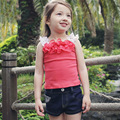 Girls Summer Casual Clothes Set Children  Flower Lace T-Shirts + Shorts Jeans Pants 2 pcs Suits 2017 Girl Clothing Sets for Kids