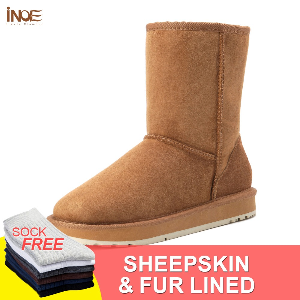 INOE real sheepskin leather suede winter snow boots for women sheep fur natural wool lined winter shoes high quality black 35-44 inoe fashion fox fur real sheepskin leather long wool lined thigh suede women winter snow boots high quality botas shoes black