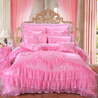 Luxury wedding bedding set 4/6/9pcs silk cotton Jacquard duvet cover red pink lace bedlinen bedspread