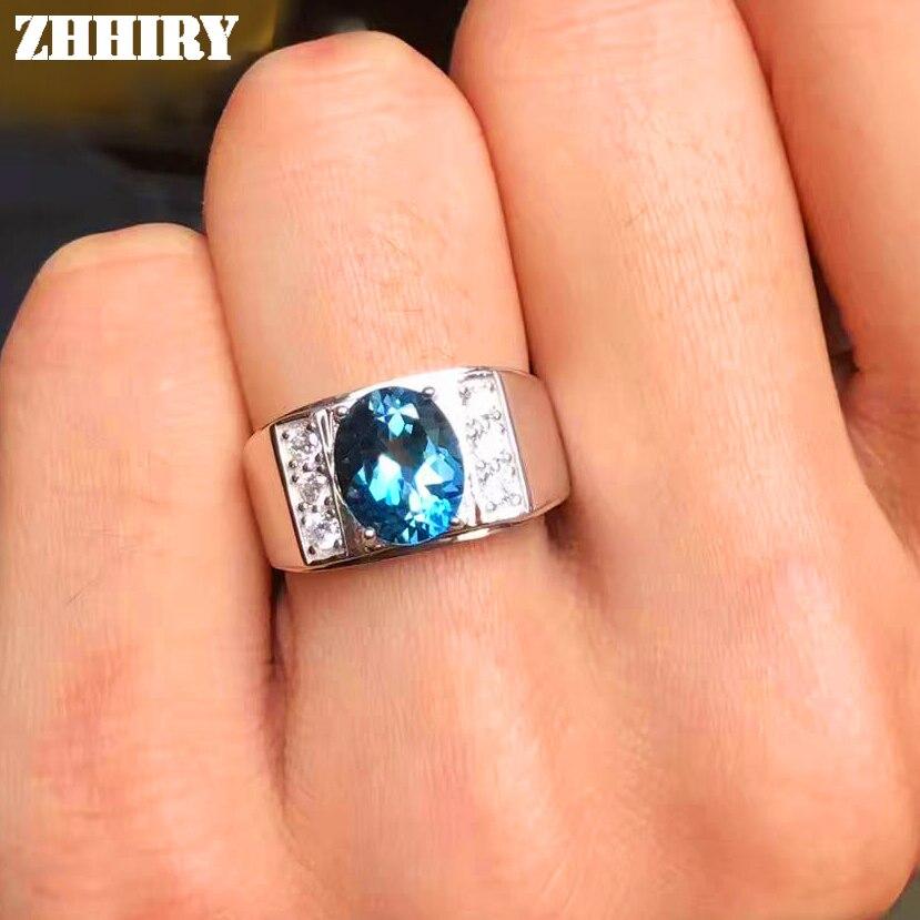 Hommes anneaux véritable topaze naturelle gemme homme réel 925 argent Sterling précieux bleu pierre précieuse bijoux fins