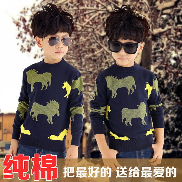 Male child long-sleeve sweater baby autumn child cardigan sweater children's clothing  autumn casual outerwear