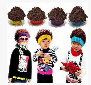 2016 Winter Tide Children Knitted Cap Male And Female Baby Yarn Wig Cap Explosion Curly Hair Cap 4 Color Optional Fast Color