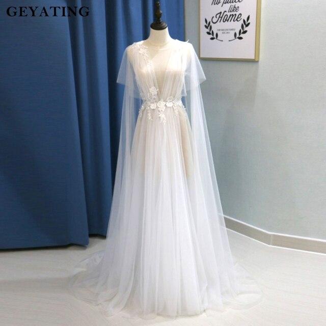 Rustic V Neck Boho Beach Wedding Dress with Cape 3D Flora Flower ...
