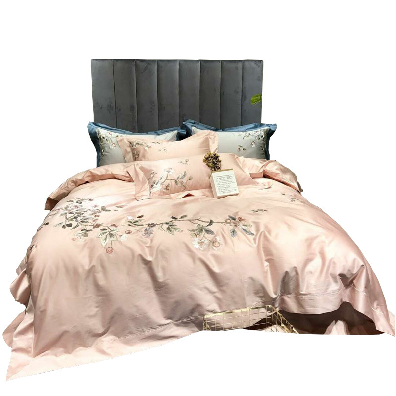 4pc -Cotton Embroidery Duvet Cover Set With 2 Pillow Shams ,1 Flat Sheet ,1 Duvet Cover (Queen, Pink)