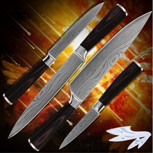 Kitchenware paring utility slicing chef kitchen knives 7Cr17 stainless steel blade superb sharp Damascus pattern cooking tools