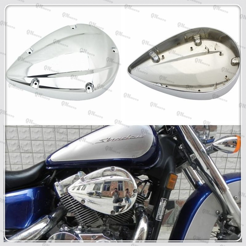 Motorcycle Chrome Air Filter Cover Air Cleaner Intake Case For H O N D A Shadow ACE VT VT400 VT750 2004-2012 05 06 07 08 09 10 chrome air cleaner cone intake filter for honda shadow ace aero spirit 750 1100