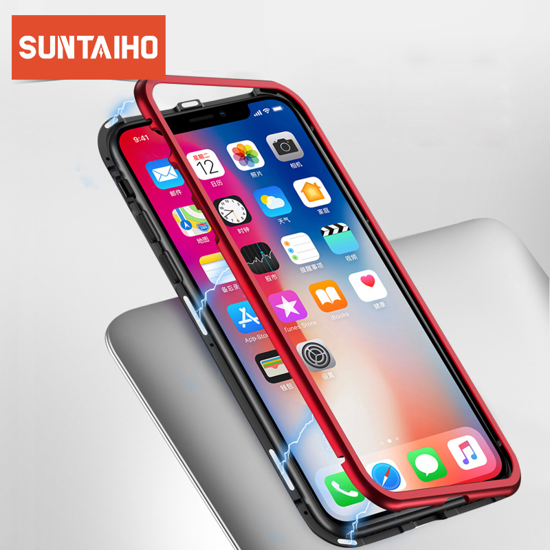 Suntaiho Magnetic Adsorption Case for iPhone XS MAX 8 Plus 7 6 6S + Metal Bumpers Tempered Glass Back Cover for iPhone XR Case