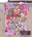 Track Ship+New Vintage Retro Cool Rock&Roll Punk T-shirt Top Tee Rosered Hand Sweet Chocolate Heart Delicious 0146