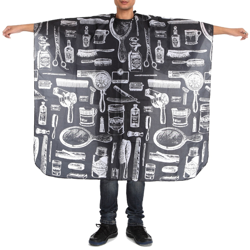 Capable 140x45cm Hairstylist Cloth Pattern Black Waterproof Hairdressing Cape Wrap Gown Apron Barber Hair Cutting Cloth G0304 Hair Care & Styling