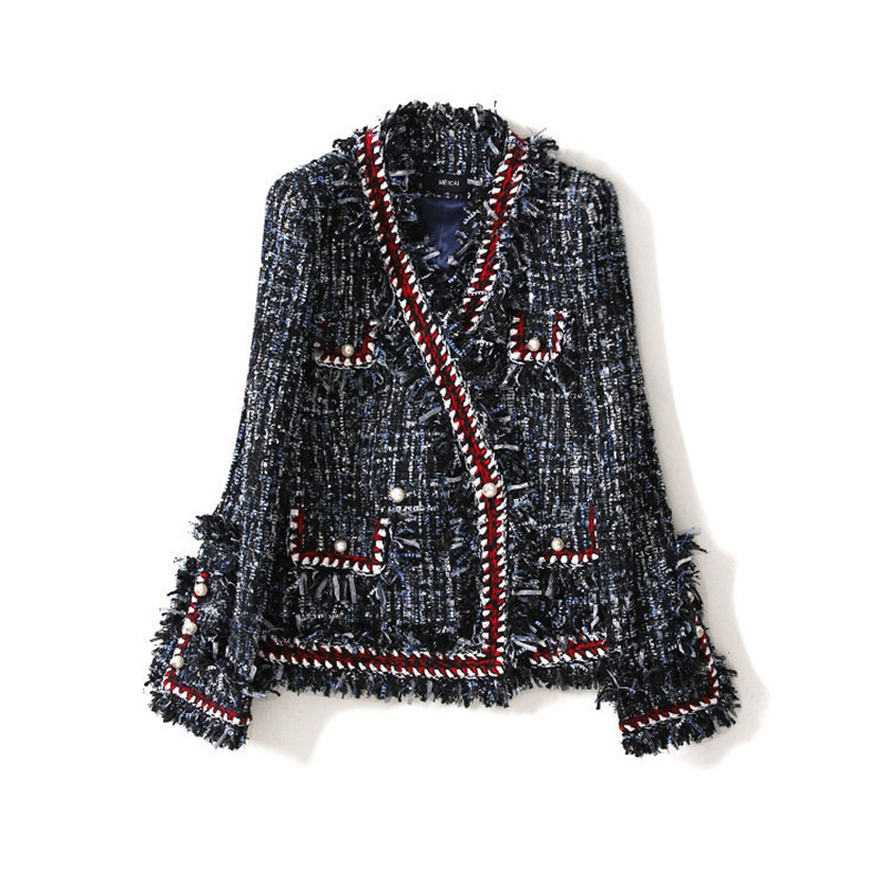 Handmade Luxury Blazer Suits For Women Fashion Tweed V Neck Double Breasted Pearl Buttons Tassel Blazers Coat