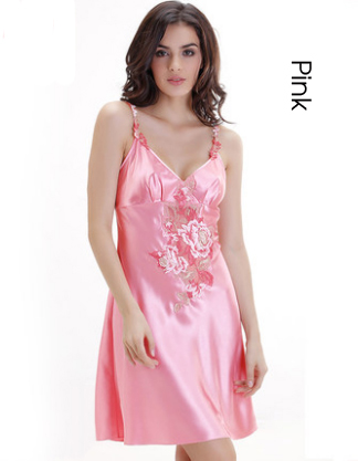 Plus Size Sexy Lingerie Satin Sleep Women Summer Nightgown camisola de dormir mujer Sleepwear chemises de nuit des femmes pijama