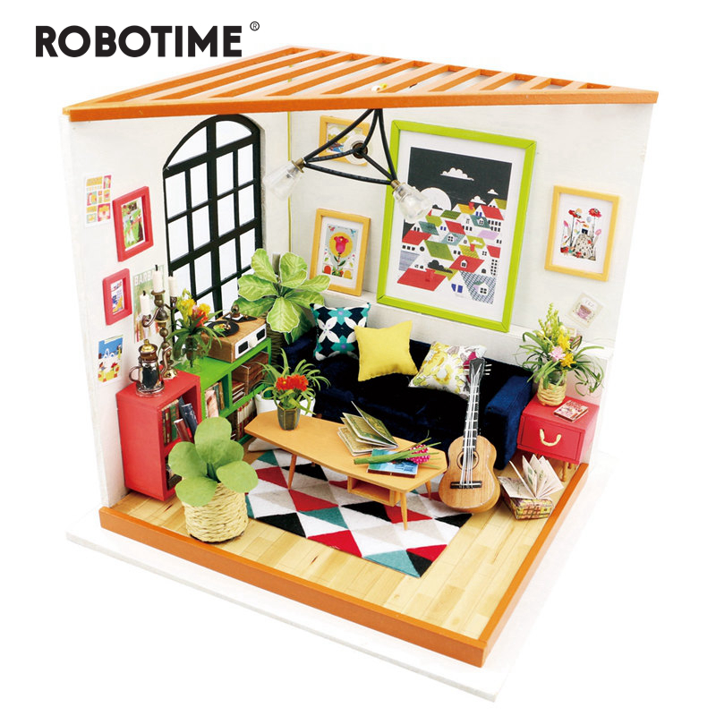 Robotime DIY Locus Sitting Room with Furniture Children Adult Miniature Wooden Doll House Model Building Kits