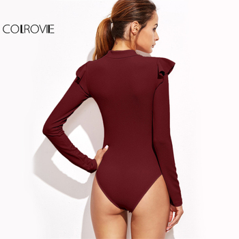 COLROVIE Long Sleeve Casual Sexy Basic Lady Burgundy Bodysuit